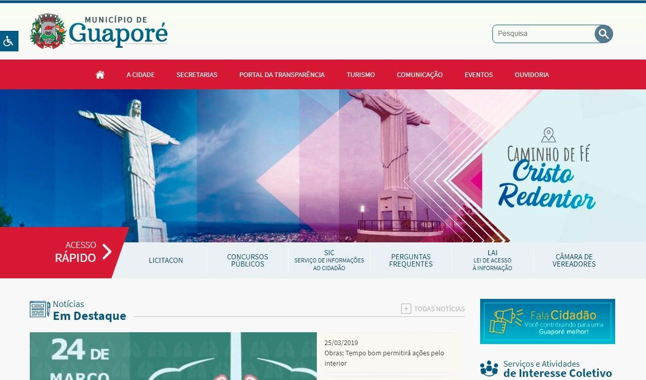 Foto de capa da notícia: Guapore.rs.gov.br: Site ganha layout dinâmico e tem novos serviços