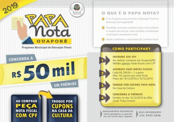 Foto de capa da notícia: Papa Nota:  sorteio de R$ 50 mil reais em prêmios para quem pedir nota fiscal com CPF