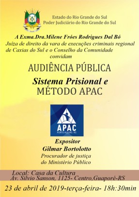 Foto de capa da notícia: Sistema Prisional e Método APAC serão apresentados em audiência pública em Guaporé