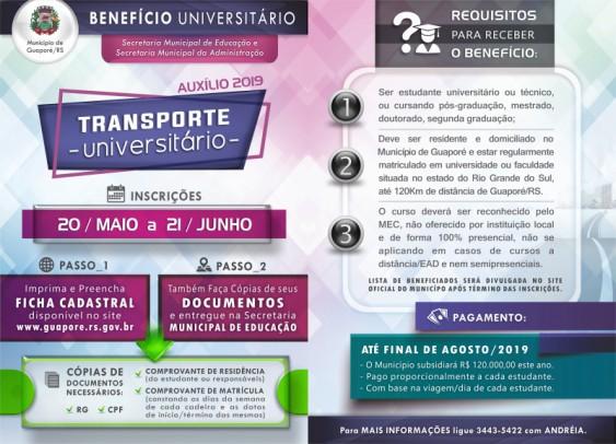 Foto de capa da notícia: Inscrições para estudantes universitários receberem benefício do Poder Público abrem dia 20 de maio