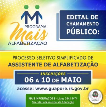 Foto de capa da notícia: Poder Público abre processo seletivo para atuação no programa Mais Alfabetização
