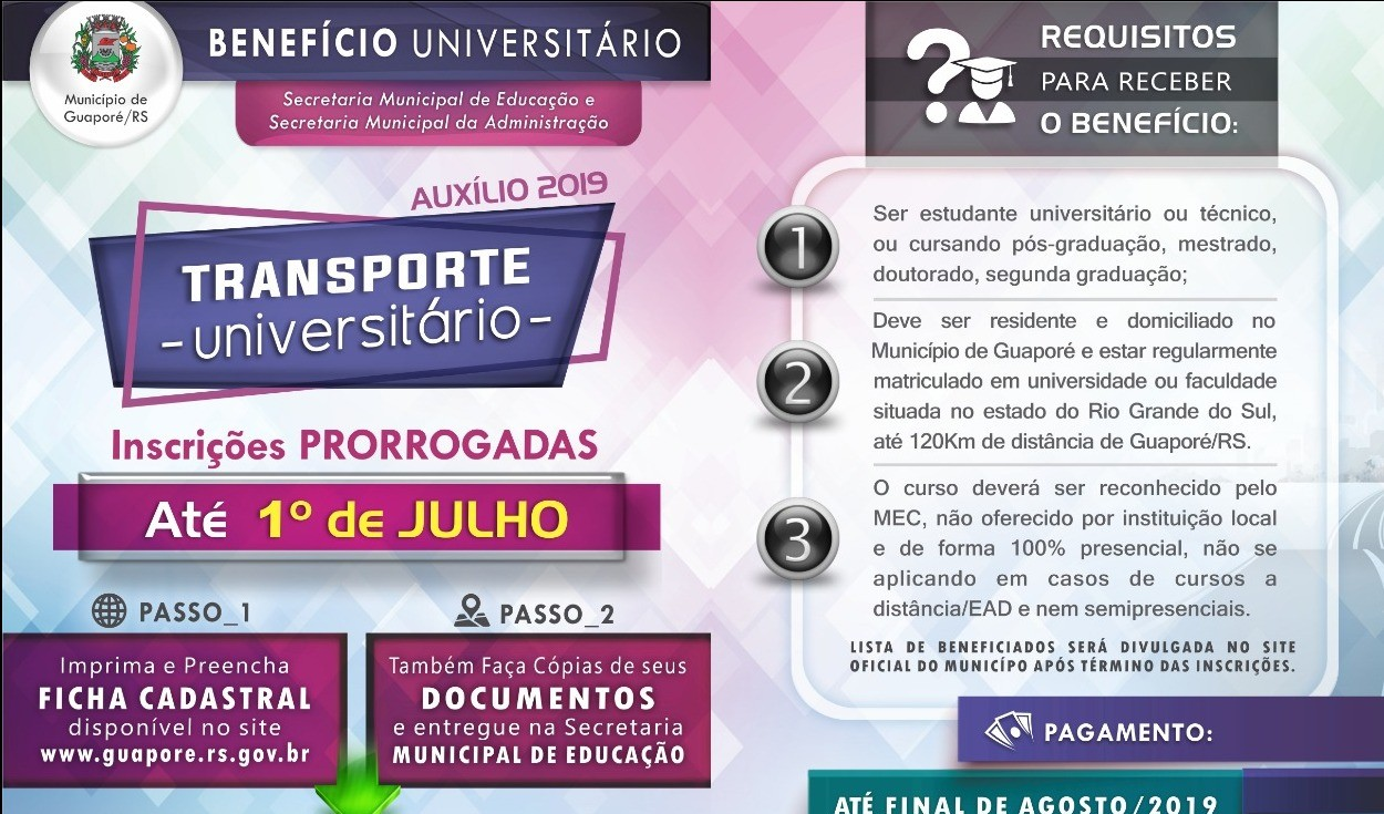 Foto da Notícia Prorrogado prazo para inscrição ao Benefício Transporte Universitário