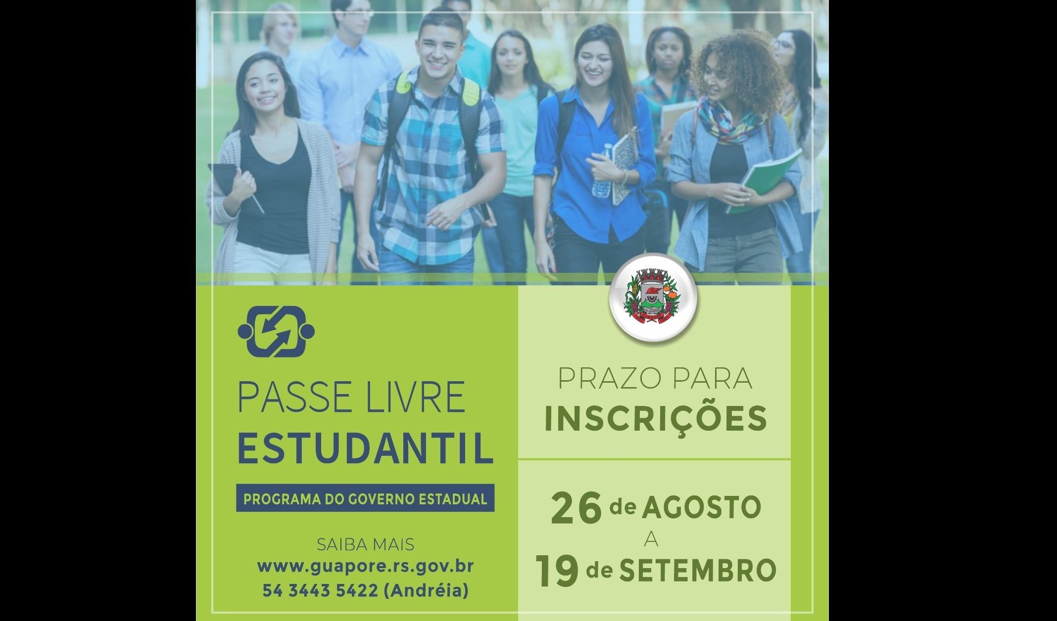 Foto de capa da notícia: Abertas inscrições para o Passe Livre Estudantil
