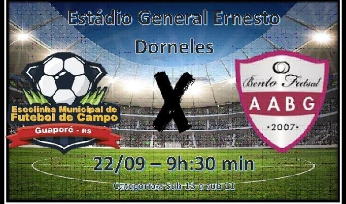 Foto de capa da notícia: Futebol: Escolinha Municipal de Guaporé enfrenta a AABG pela Liga Gaúcha Serra