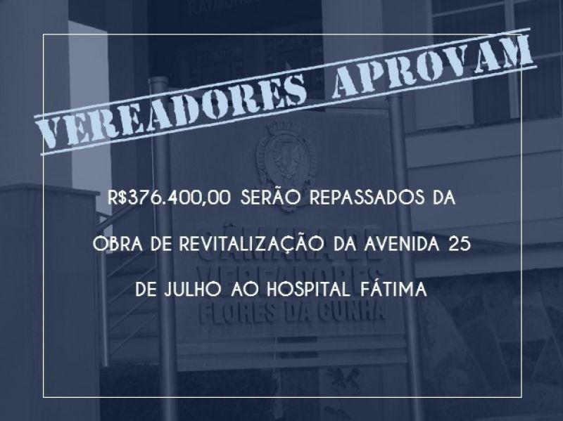 Foto de capa da notícia Vereadores aprovam repasse de R$376.400,00 ao hospital Fátima.