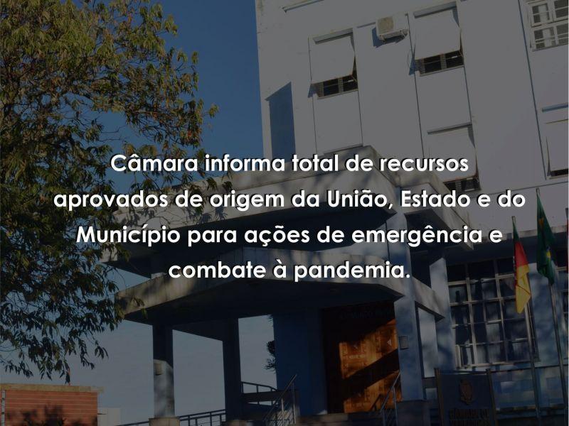 Foto de capa da notícia: Câmara informa total de recursos aprovados de origem da União, Estado e do Município para ações de emergência e combate à pandemia.