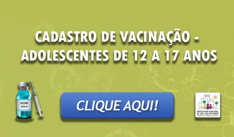 Banner 2 - CADASTRO ADOLESCENTES DE 12 A 17 ANOS