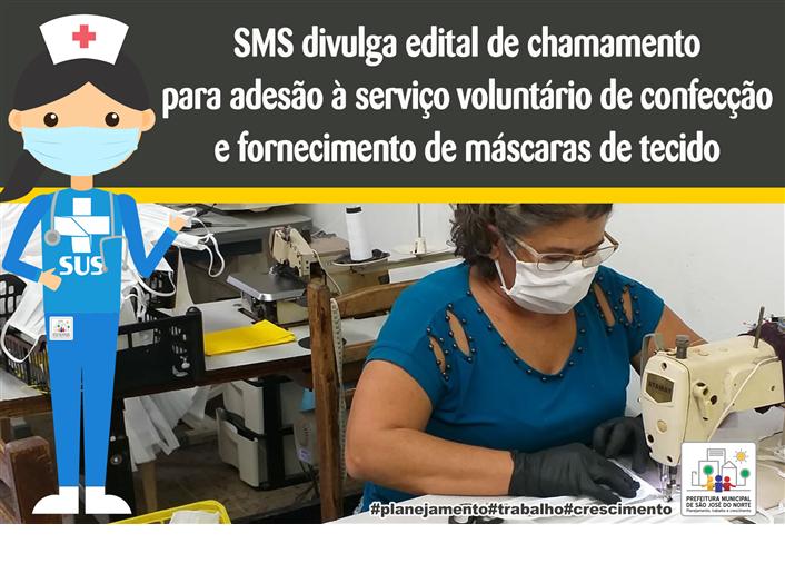 Foto de capa da notícia SMS divulga edital de chamamento para adesão à serviço voluntário de confecção e fornecimento de máscaras de tecido