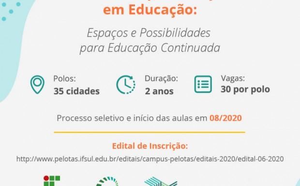 Foto de capa da notícia: Executivo Municipal divulga inscrições para o curso de Pós-Graduação em Educação: Espaços e Possibilidades para Educação Continuada (CPEaD) do IFSul