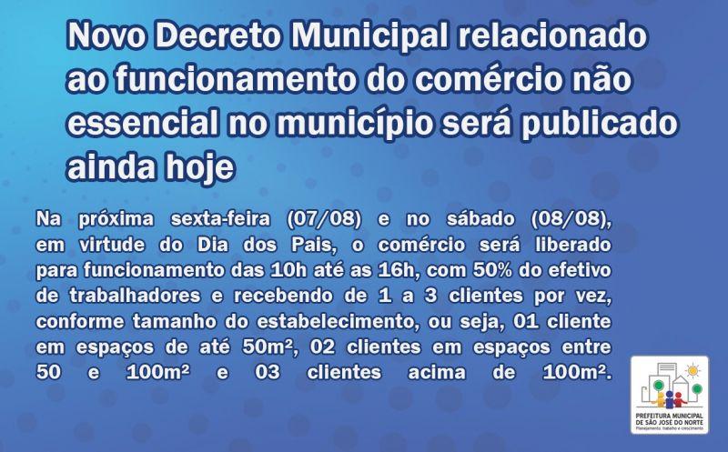 Foto de capa da notícia Executivo informa que será publicado ainda hoje o Decreto Municipal relacionado ao funcionamento do comércio não essencial no município na sexta-feira e sábado