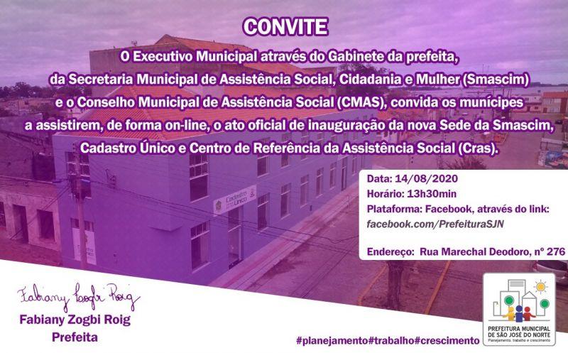 Foto de capa da notícia Sede da Smascim, Cadastro Único e Cras será inaugurada hoje