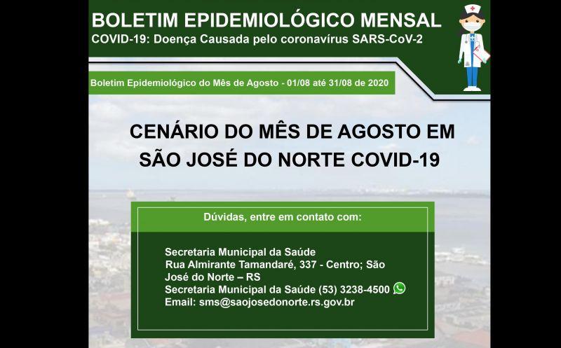 Foto de capa da notícia Secretaria da Saúde divulga boletim mensal com detalhamento de casos de Covid-19 em São José do Norte
