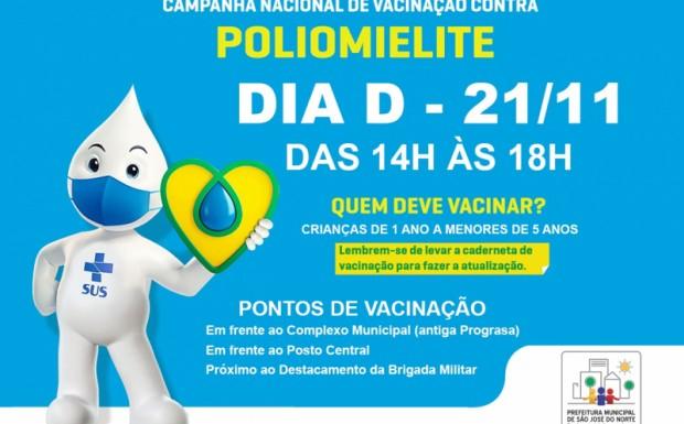 Foto de capa da notícia: Dia D de vacinação contra Poliomielite: Campanha Nacional encerra no próximo sábado