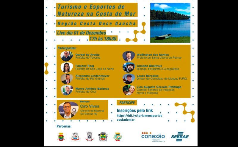 Foto de capa da notícia Sebrae e representantes da região Costa Doce Gaúcha abordarão em um bate papo online sobre Turismo e Esportes de Natureza na Costa do Mar