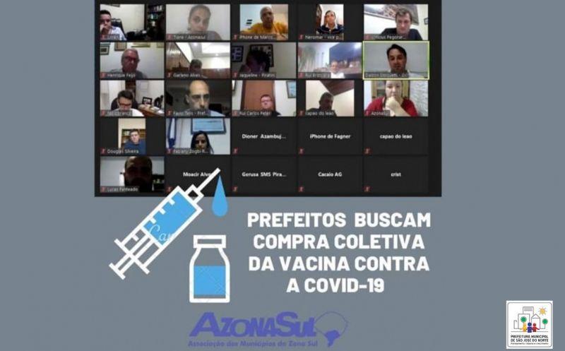 Foto de capa da notícia: O Executivo Municipal participa de reunião com Azonasul para discutir a compra coletiva da vacina contra a Covid-19