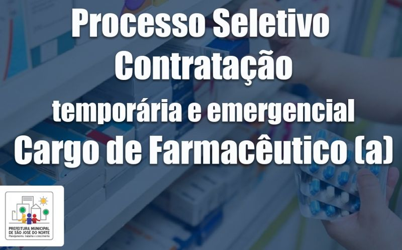 Foto de capa da notícia: Prefeitura abre inscrições para processo seletivo para o cargo de Farmacêutico