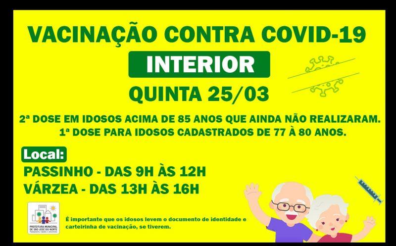 Foto de capa da notícia VACINAÇÃO CONTRA COVID-19   INTERIOR QUINTA 25/03