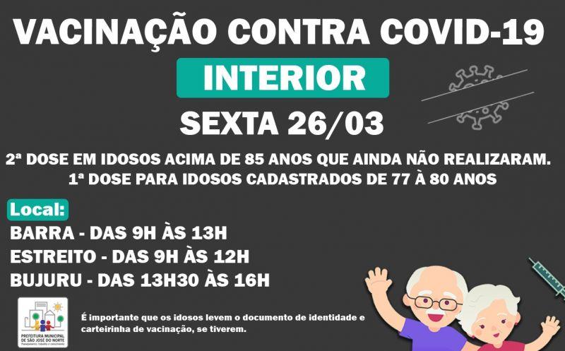 Foto de capa da notícia VACINAÇÃO CONTRA COVID-19   INTERIOR SEXTA 26/03