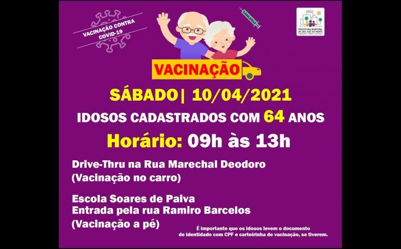 Foto de capa da notícia VACINAÇÃO 10/04 | IDOSOS CADASTRADOS COM 64 ANOS
