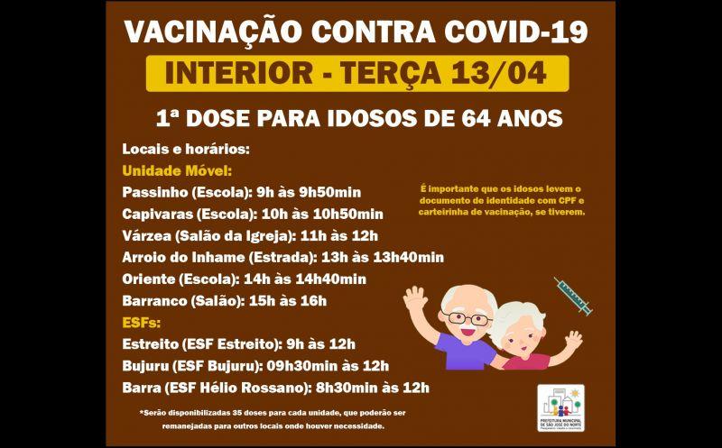 Foto de capa da notícia VACINAÇÃO 13/04   INTERIOR - 1ª DOSE PARA IDOSOS DE 64 ANOS