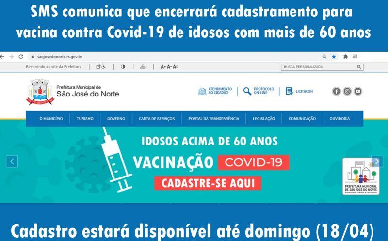 Foto de capa da notícia SMS comunica que encerrará cadastramento para vacina contra Covid-19 de idosos com mais de 60 anos