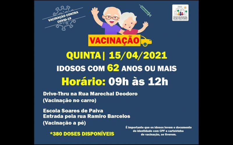 Foto de capa da notícia VACINAÇÃO 15/04 DAS 9H ÀS 12H   IDOSOS CADASTRADOS COM 62 ANOS OU MAIS