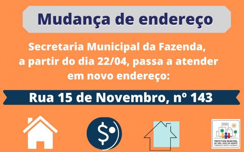 Foto de capa da notícia Secretaria Municipal da Fazenda (SMF) comunica mudança de endereço, para a Rua 15 de Novembro