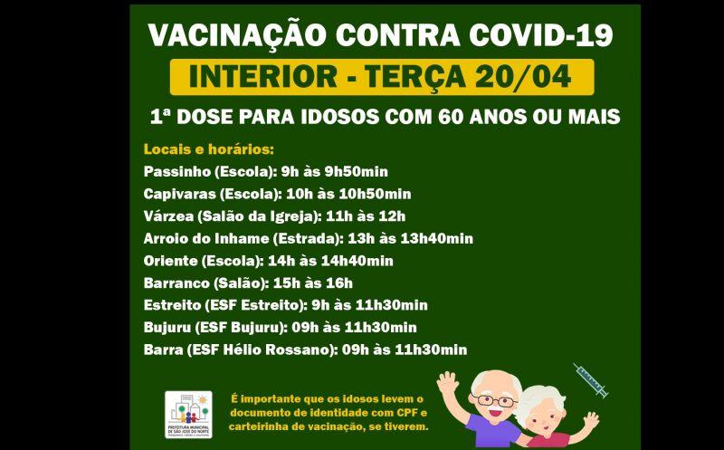 Foto de capa da notícia VACINAÇÃO 20/04 | INTERIOR - 1ª DOSE PARA IDOSOS DE 60 ANOS OU MAIS