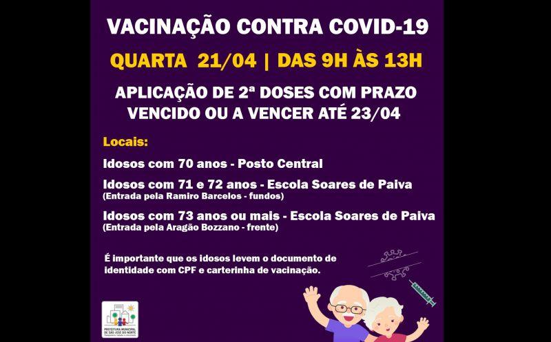 Foto de capa da notícia VACINAÇÃO 21/04 | 2ª DOSES COM PRAZO VENCIDO OU A VENCER ATÉ O DIA 23/04