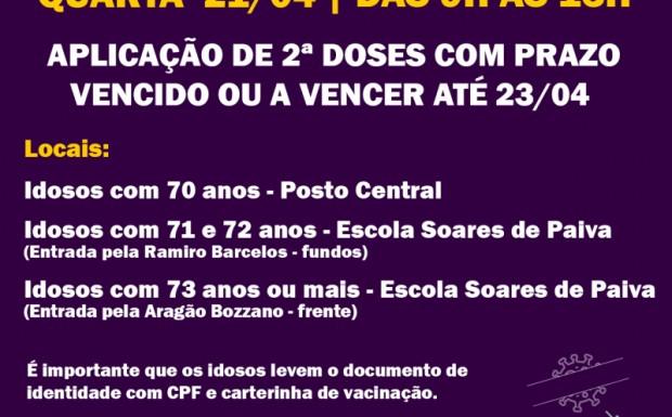 Foto de capa da notícia: VACINAÇÃO 21/04   2ª DOSES COM PRAZO VENCIDO OU A VENCER ATÉ O DIA 23/04