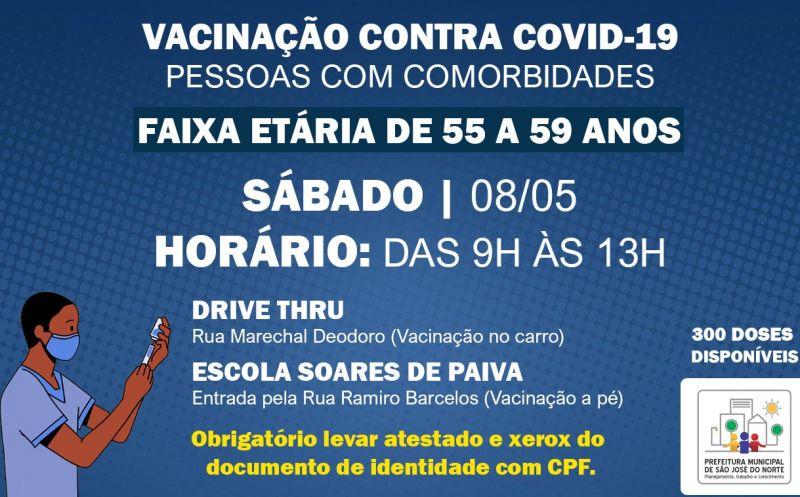 Foto de capa da notícia: VACINAÇÃO 08/05 | 1ª DOSE PARA PESSOAS COM COMORBIDADES DE 55 A 59 ANOS