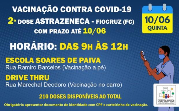 Foto de capa da notícia: VACINAÇÃO 10/06   APLICAÇÃO DE 2ª DOSES ASTRAZENECA - FIOCRUZ (FC) COM PRAZO ATÉ 10/06