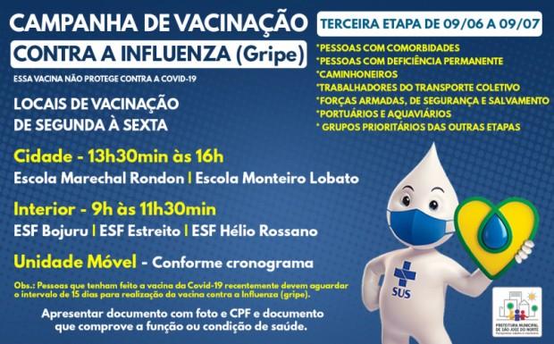Foto de capa da notícia: VACINAÇÃO CONTRA INFLUENZA (GRIPE) | TERCEIRA ETAPA