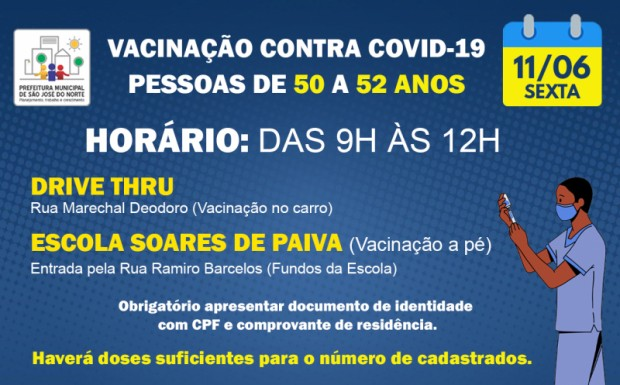 Foto de capa da notícia: VACINAÇÃO SEXTA 11/06 | 1ª DOSE PARA PESSOAS DE 50 A 52 ANOS