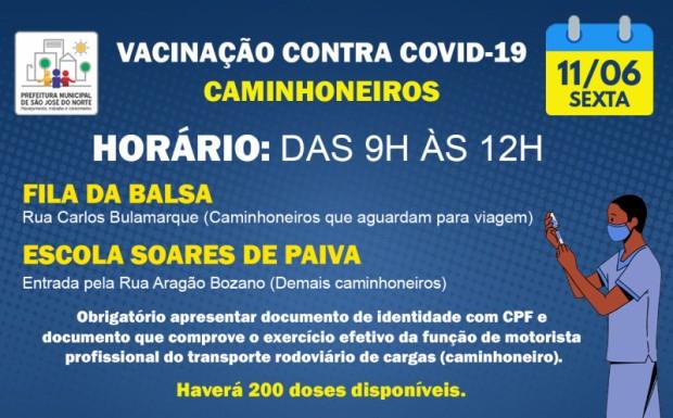 Foto de capa da notícia: VACINAÇÃO SEXTA 11/06   1ª DOSE PARA CAMINHONEIROS