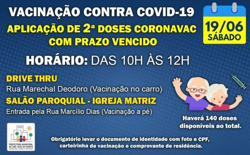 Foto de capa da notícia: VACINAÇÃO 19/06 | APLICAÇÃO DE 2ª DOSES CORONAVAC COM PRAZO VENCIDO