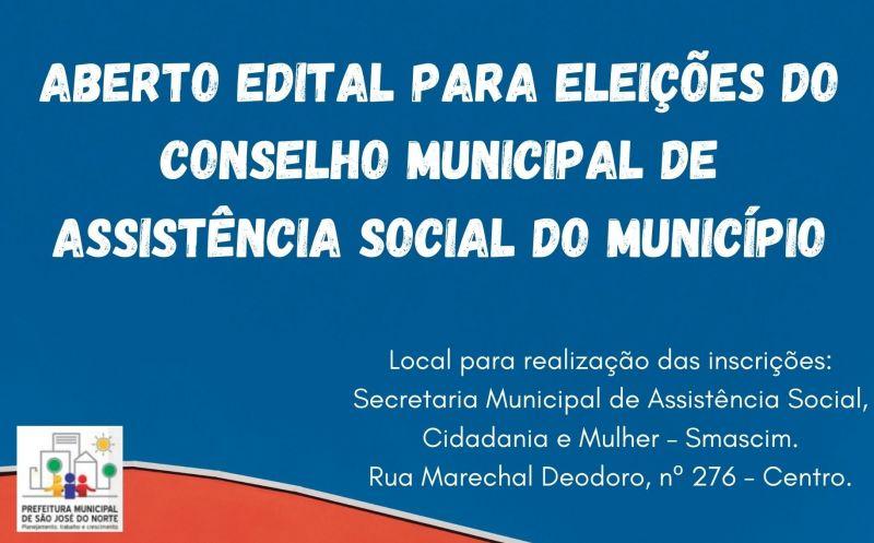 Foto de capa da notícia Aberto edital para eleições do Conselho Municipal de Assistência Social do Município