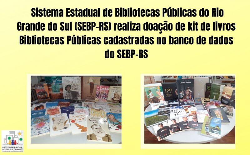Foto de capa da notícia Sistema Estadual de Bibliotecas Públicas do Rio Grande do Sul (SEBP-RS) realiza doação de kit de livros Bibliotecas Públicas cadastradas no banco de dados do SEBP-RS