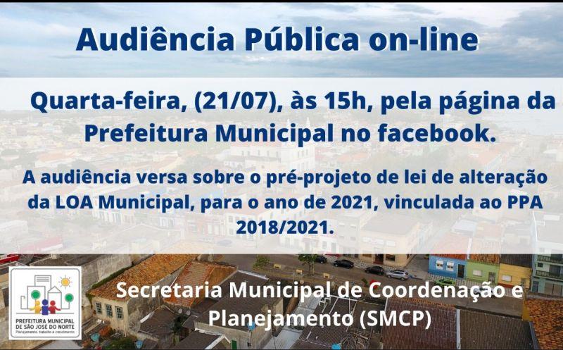 Foto de capa da notícia Marcada Audiência Pública on-line para tratar da alteração da LOA Municipal