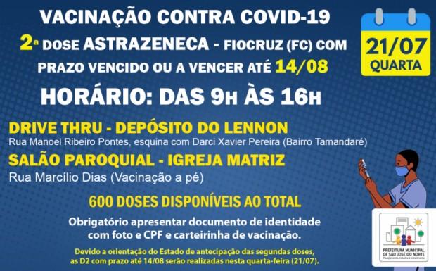 Foto de capa da notícia: VACINAÇÃO QUARTA 21/07   APLICAÇÃO DE 2ª DOSES ASTRAZENECA - FIOCRUZ (FC) COM PRAZO VENCIDO OU A VENCER ATÉ 14/08