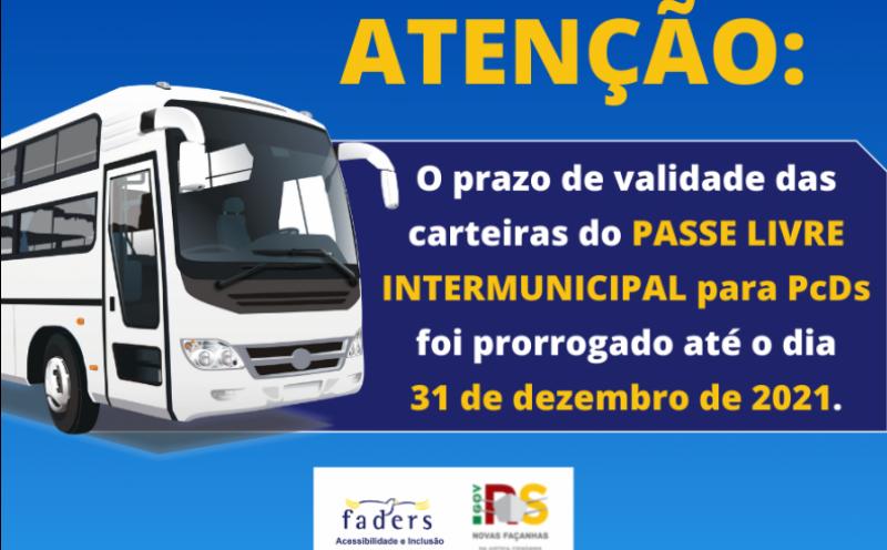 Foto de capa da notícia Prorrogado o prazo do Benefício do Passe Livre Intermunicipal para Pessoa com Deficiência até o dia 31 de dezembro de 2021