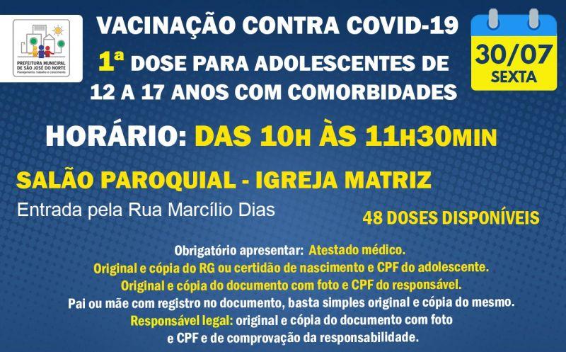 Foto de capa da notícia: VACINAÇÃO SEXTA 30/07 | 1ª DOSE PARA ADOLESCENTES DE 12 A 17 ANOS COM COMORBIDADES