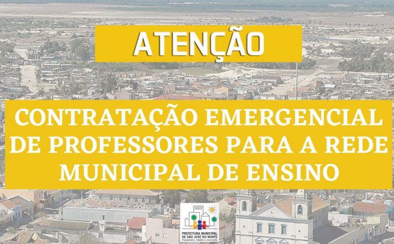 Foto de capa da notícia: CONTRATAÇÃO EMERGENCIAL DE PROFESSORES PARA A REDE MUNICIPAL DE ENSINO