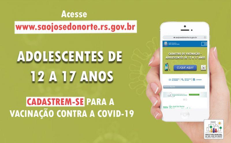 Foto de capa da notícia SMS abre cadastro para vacinação contra Covid-19 destinado a adolescentes de 12 a 17 anos