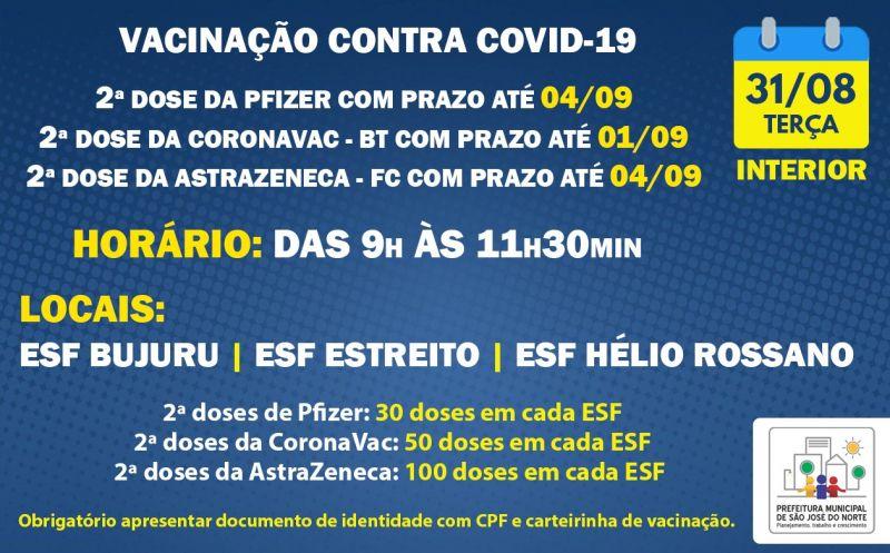 Foto de capa da notícia VACINAÇÃO INTERIOR   TERÇA 31/08