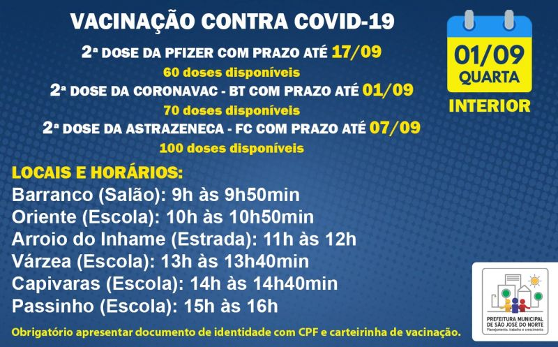 Foto de capa da notícia VACINAÇÃO INTERIOR | 2ª DOSE | QUARTA 01/09
