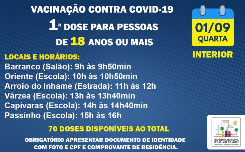 Foto de capa da notícia VACINAÇÃO INTERIOR | 1ª DOSE | QUARTA 01/09