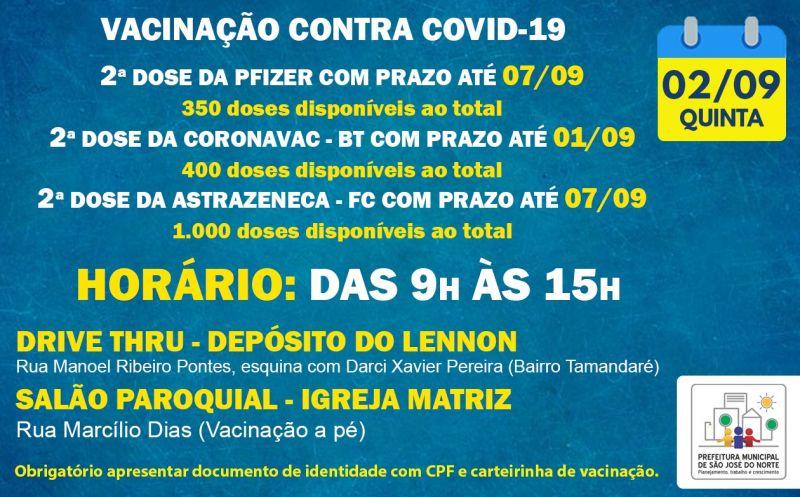 Foto de capa da notícia VACINAÇÃO | QUINTA 02/09 | 2ª DOSES