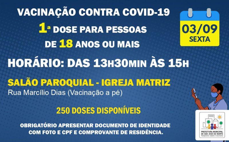 Foto de capa da notícia VACINAÇÃO SEXTA 03/09 | 1ª DOSE PARA PESSOAS DE 18 ANOS OU MAIS