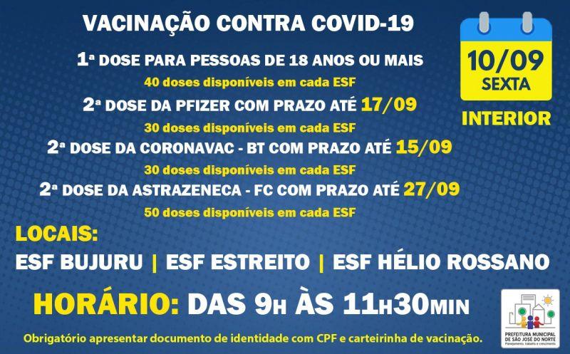 Foto de capa da notícia VACINAÇÃO INTERIOR   SEXTA 10/09   1ª DOSE E 2ª DOSE